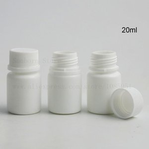 100pcs empty bottles pills container 20ml PE grade hinge Top plastic bottle with screw cap