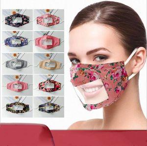 Máscaras Transparente Boca tampa transparente de proteção da janela Faceshield manta Printted Máscara Facial Lip Idioma Visible Expression cobrir a boca LSK932