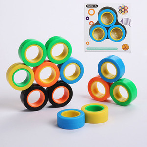 Magnetic Infinite Cube Decompression Fidget Spinners Magnet Block Ring Finger Hand Table Rotating Finger Gyro Character Focus Toy YYD2012