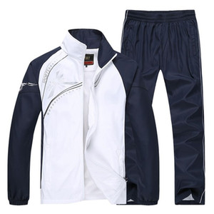 El otoño del resorte del chándal de los hombres de la chaqueta + pantalones Dos conjuntos de piezas casual chándal de deporte Correr Sweatsuit deportiva Ropa M ~ 5X