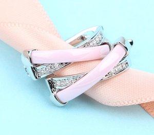 Cross X Ear Cuff Micro Pave Clear Cubic Zirconia Cute Girl Gift Pink Orange White Ceramic Earrings Creative Cuff CZ Ear