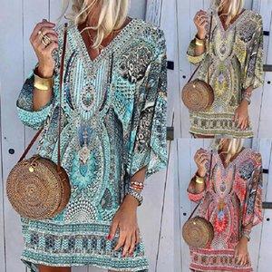 Casual Dresses 40# Women Vintage Party Sexy V-neck Beach Printing Bohemian Long Sleeves Summer Dress Vestido Robe