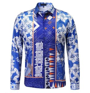10pcs lot DHL free shipping 2020 Brand New Medusa printed Dress shirt men Slim Fit shirts for men black print casual tops