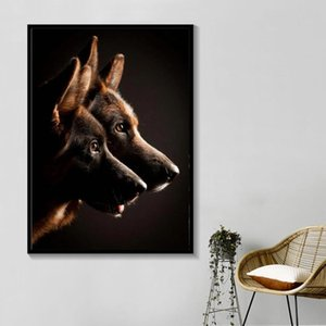 Black And White German Shepherd Dog Animal Poster And Print Picture Germany Canvas Painting Fine Wall Art Home Decor Living Room