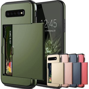 For Samsung Galaxy S20 Ultra S10 e S9 S8 Plus Slide Armor Wallet Card Slots Holder Case For Samsung Note 20 Ultra 10 Plus 5G 9 8