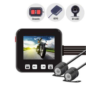 C6 dual de la motocicleta de la cámara grabadora de acciones frontal DVR y trasera de la motocicleta impermeable Dash Cam Negro visión nocturna Caja