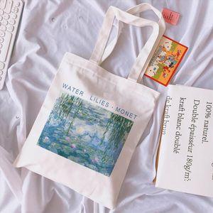 Casual Van Gogh Letter Cartoon Printed Canvas Shoulder Bag Female Harajuku New ulzzang Vintage Large Capacity Shoulder Bags