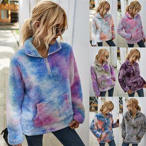 Tie-Dye-Jacke Fleece Pullover Pullover für Damen Winter warm Plüsch-Pelz-Mantel Outwear Steigung-Farben-Mode Pullover beiläufige Oberseiten Blusen LY903