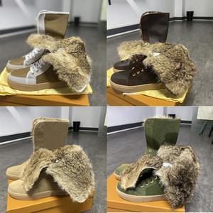 Mode-Winter-Schnee-Beuten-Designer-Schuhe über das Knie-Martin Stiefel mit Fell Australiens Frauen Stiefel mit flachem Boden Brown Blume mit Box EU42