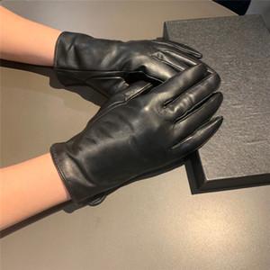 Роскошные дизайнерские перчатки с перчатками Box Кожа плюс бархат женщин Открытый Велоспорт Драйв Держите Теплые перчатки Пять пальцев Hipster