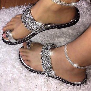 Лето Тапочки Женские сандалии Тапочки Flat Silver Блестки Стразы Open Toe Обручальные Party Ladies Обувь Плюс Размер 43 NEW