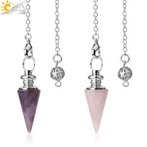 CSJA Konik Sarkaç Doğal Taş Konik sarkaç Gümüş Renk Zincir Kristal Kolye Ruhsal Reiki Şifa Takı G491 maden için