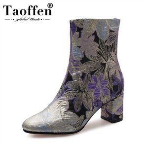 TAOFFEN 2020 Broderie Mode Femmes Bottines ronde Zipper Toe talons épais Chaussures femmes Chaussures ethnique style Taille 33-43