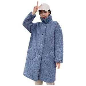 SAGACE New Women's Fashion Solid Color Coat High Collar Long Button Loose Pocket Long Sleeve Candy Color Jacket Hot Sale