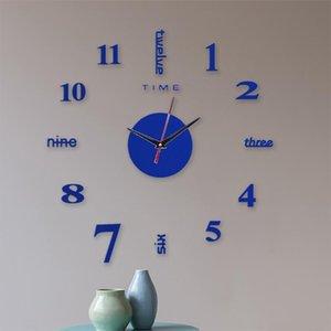 Wall Clock Frameless DIY Wall Mute Clock 3D Mirror Surface Sticker Home Diy Acrylic Office Decor living room 50x50cm