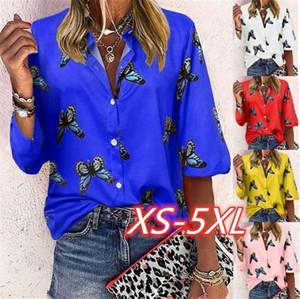 Sonbahar İlkbahar Kadınlar Bluz Moda Kelebek Desen Gevşek Tek Breasted Bluz Casual Kadın Giyim Dropshipping Tops
