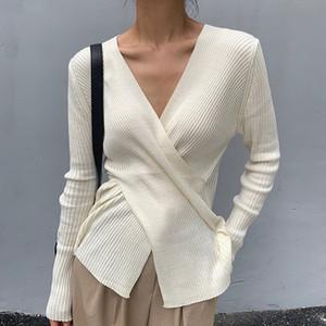 Frauen Herbst koreanischen Chic Herbst elegante V-Ausschnitt Kreuz Langarm Base Shirt Strickpullover Mode Tops