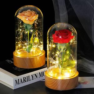 Madeira caixa de música girar Castle in the Sky, beleza e Valentines Day Gift Besta Rose Em Flask Led Rose Luz Flor Melhor Para