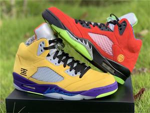 Aire 5 5s lo que el equipo universitario Zapatos de Maíz / Corte Púrpura-verde-Santo Solar Naranja CZ5725-700 baloncesto NakeskinJordánzapatillas retro