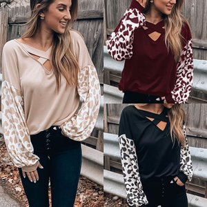 European and American women's autumn and winter cross-neck leopard print sleeves long-sleeved T-shirt pullover loose top