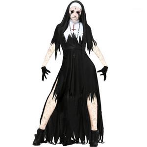 Cosplay Festivali Stil Bayan Moda Şort Kol Kol Bayan Elbise Tema Kostüm Nun Cadılar Bayramı Designer Standı