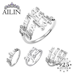 AILIN 925 Sterling Silver Custom Name Ring Personalized Wedding Ring Women Customize Jewelry Gifts For Girlfriends Couple