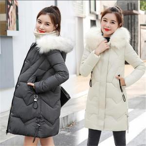 2020 Новая мода зима теплая меховой воротник с капюшоном вниз хлопка пальто женской средней пальто длиной Жакеты Пальто и пиджаки