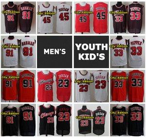 Vintage Erkek Gençlik Çocuklar 45 23 Michael JD ChicagoBullsJersey Dikişli 33 Scottie Pippen 91 Dennis Rodman Retro Basketbol Forması