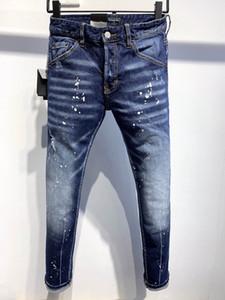 DSQ Jeans Mens de luxe Designer Jeans Skinny déchiré Cool Guy Causal Hole Denim Fashion Marque Fit Jeans Hommes lavés Pantalons 61262