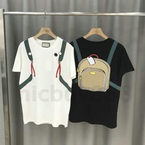 2020 Diseñador de impresión para hombre ropa de lujo de verano camiseta de la raya remiendo de la impresión mochila camiseta Tee camisetas Camiseta ocasional Tops camiseta