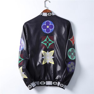 20SS Mens искусственной кожи куртки мотоцикла куртки Меховые весна осень одежда для мужчин с длинным рукавом Охладить отворотом куртки ветровки