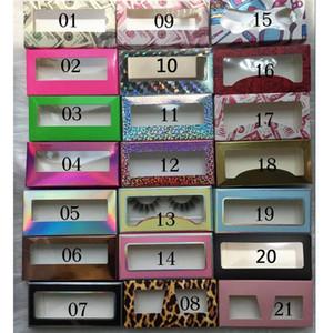 Rectángulo del leopardo de las pestañas cajas de embalaje pestañas falsas embalajes vacíos caja de la pestaña Caso creativo láser pestañas caja de empaquetado RRA3431