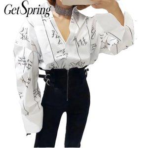 GETSRING mujeres blusa de la camisa de algodón blanco de la primavera 2020 blusas Todo-fósforo flojo de impresión de letras Cardigan camisas de manga larga camisas