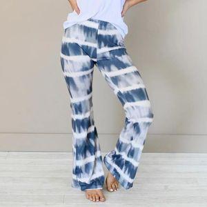 Women pants igh Waist Tie-Dye Printing Gradients Elastic Waist Casual Pants Wide Leg 2020 fashion Harajuku straight