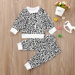 Autumn Boy Leapord Print Clothing Fashion Cotton Long-sleeved Letter T-shirt+Pants Newborn Baby Girl Set 827 Deals