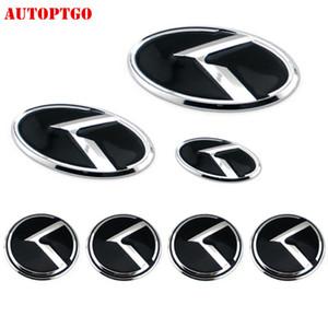 Noir 7Psc Kia K Emblem Badge Logo Decal Sticker pour Kia Sorento Grille Optima avant K2-K5 coffre arrière Volant Hub Cap Cover