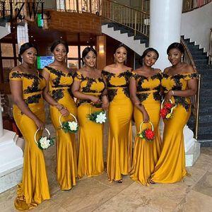 Gold Mermaid Bridesmaid платья Black Applique Кружева Свадьба Африканская Женщина Робин Demoiselle D'Honneur Свадьба Гостевое платье