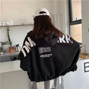 Black Hoodie Women Jacket BF Style Female Casual Sweatshirt Autumn Long Sleeve Streetwear Korean Ulzzang Hip Hop Coat Tops Y200915