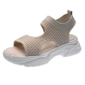 Sandales d'été Eillysevens confortable Nouveau fond épais Sandales confortable Loisirs Mesh respirant plage Femmes Casual