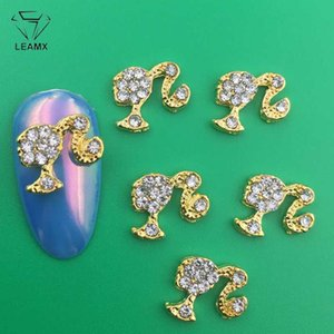LEAMX 10 PCS / sac transparent strass Nails Art Décorations Beautiful Girls ongles bricolage pierres précieuses Diamants ongles alliage 3D Charms Supply L413