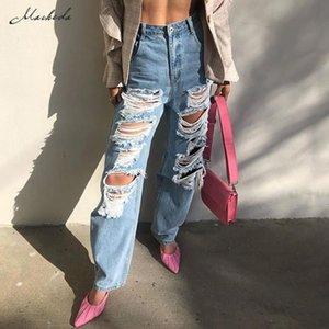 Macheda vita alta allentati jeans vestiti casuale delle donne blu del denim Streetwear Strappato Hole pantaloni Lady Fashion pantaloni diritti 2020