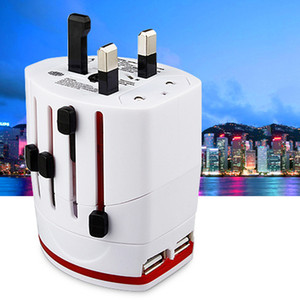 HOT All In One Dual USB Port and US UK AU EU Universal Travel Adapter AC Power Plug Adaptor EU UK US AU White black DHL free shiping