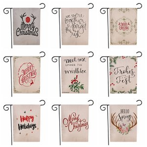 Merry Christmas Garden Flag Xmas Letter Trees Reindeer Hanging Banner Flags Party Decoration Double Side Printed Flags 30*45cm CCA12494