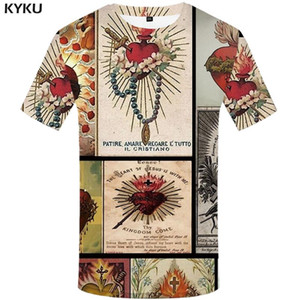 Christian KYKU Jesus T-shirt Men cruz camiseta Impresso T-shirts Casual Chama Anime roupas de lazer Shirt Print Mens Clothing