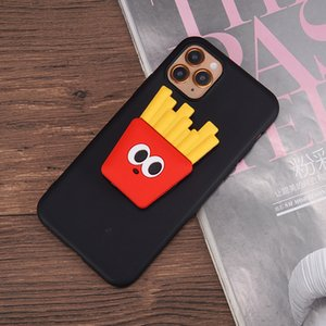 mytoto 3D Cartoon Grip Holder Stand Phone Case For iPhone XS MAX 7 SE2 11 Pro XR X 8 6Plus French Fries Burger Soft Silicone Cover
