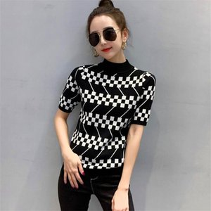2020 thin female short-sleeved designer sweater casual fashion half turtleneck t-shirt spring and summer new ladies clothing S-XL