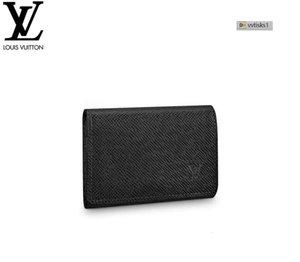 vvtisks1 PTSF M64595 ENVELOPPE CARTE DE VISITE الأسود MEN الجلد الحقيقي سلسلة WALLETS COMPACT محفظة CLUTCHES مساء مفتاح حامل بطاقة