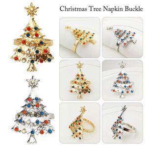 Christmas Tree métal Boucle serviette Hôtel échantillon Chambre Set de table de serviette pour table Décorations dîner fête de mariage