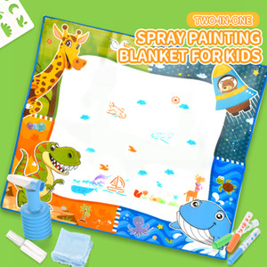 Big Size Magic Water Drawing Mat Coloring Doodle Carpet with 4 Magic Pens & Stamps Painting Drawing Board Toys Gift for Kid Children's Toys