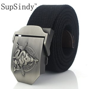 Supsindy Men's Canvas Skull Snake Metal Buckle Military Belt Tactical Belts for Male Top Quality Men Strap Army Green